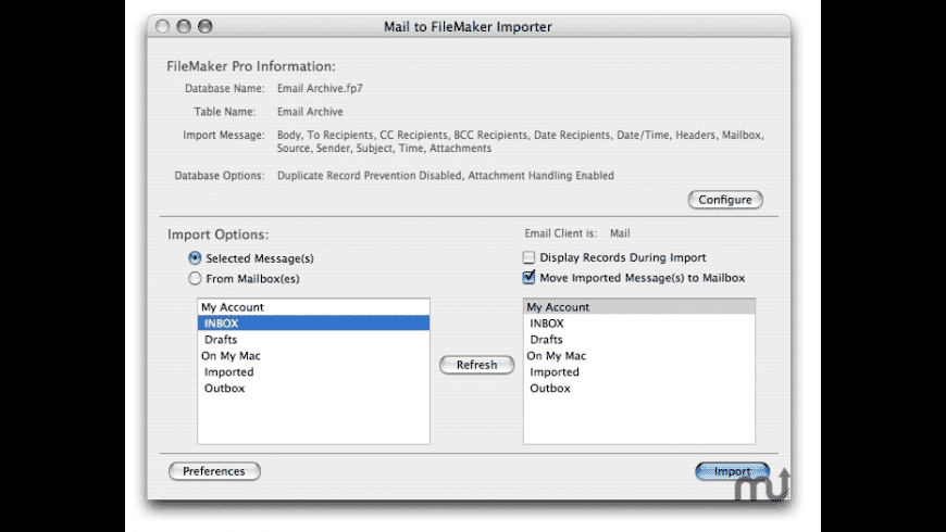 Mail to FileMaker Importer for Mac - review, screenshots