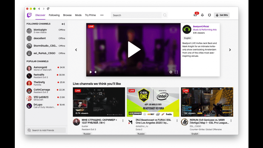 Twitch for Mac - review, screenshots