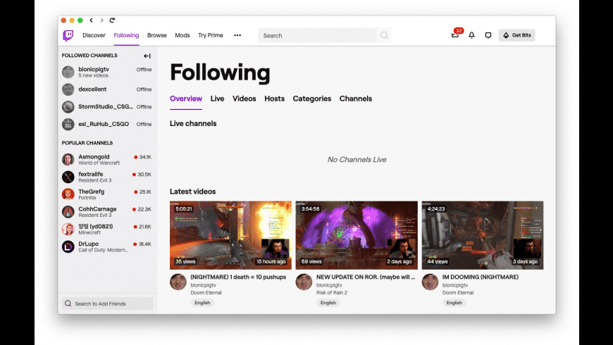 Twitch for Mac - review, screenshots