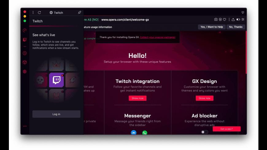 Opera GX for Mac - review, screenshots