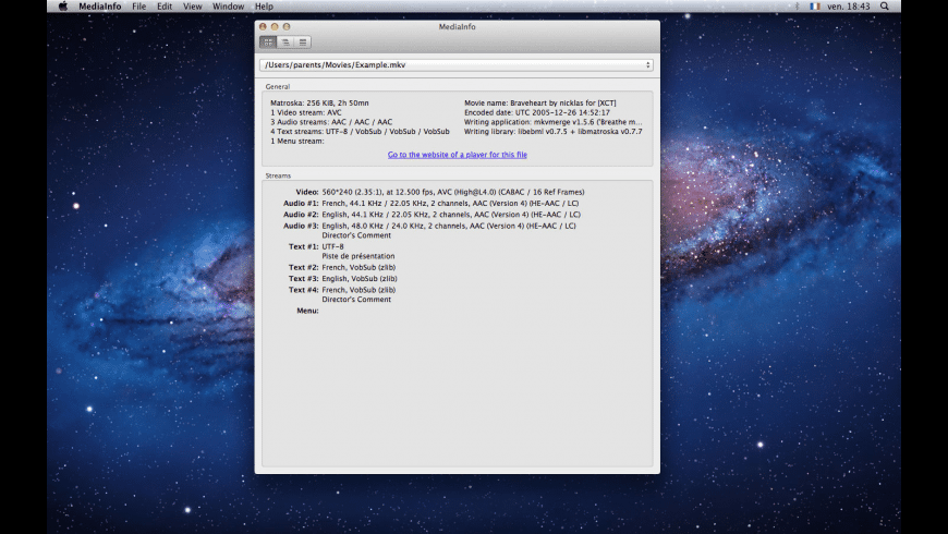 MediaInfo for Mac - review, screenshots