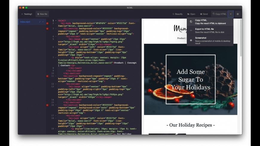 MJML for Mac - review, screenshots