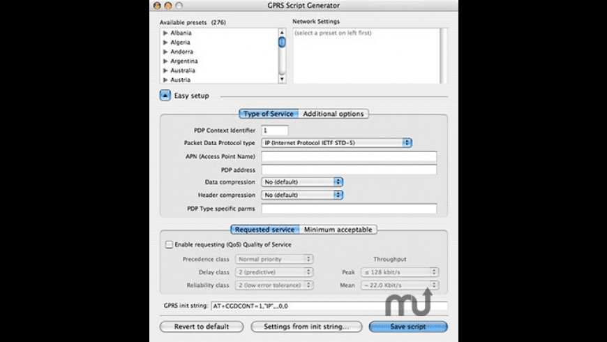 GPRS Script Generator for Mac - review, screenshots