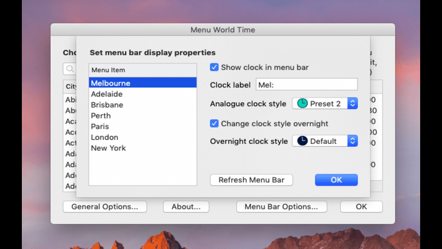 Menu World Time for Mac - review, screenshots