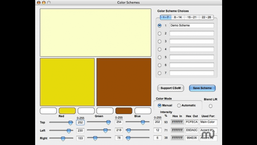 Color Schemes for Mac - review, screenshots