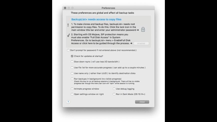 BackupList+ for Mac - review, screenshots