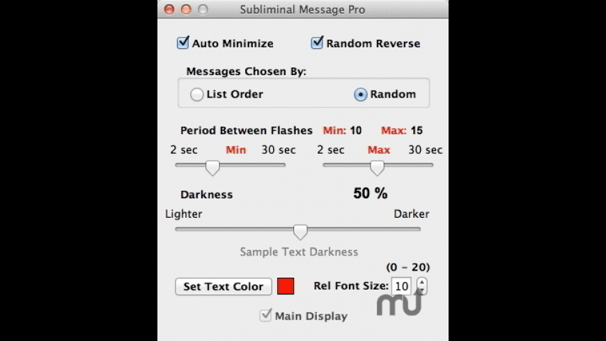 Subliminal Message Pro for Mac - review, screenshots