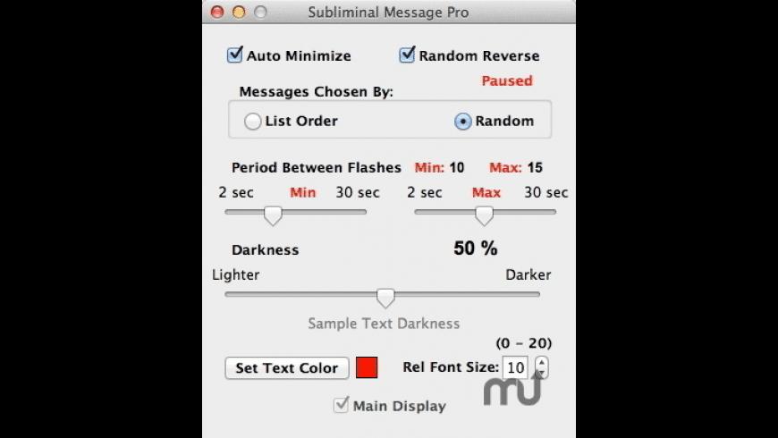 Subliminal Message Pro for Mac - review, screenshots