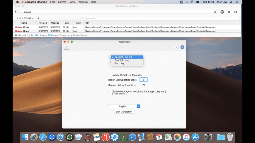 File Search Machine for Mac - review, screenshots