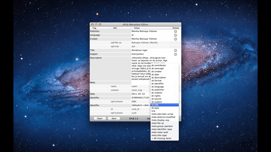ePub Metadata Editor for Mac - review, screenshots