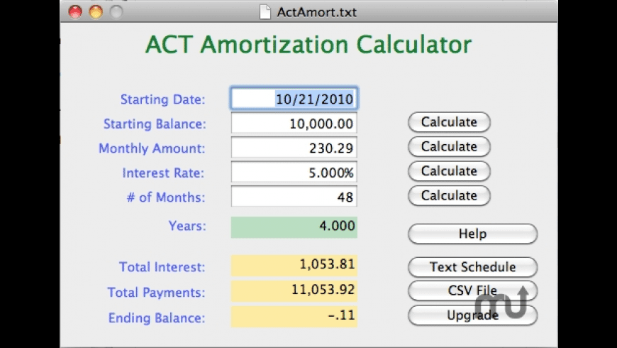 ACT Amort Freeware for Mac - review, screenshots