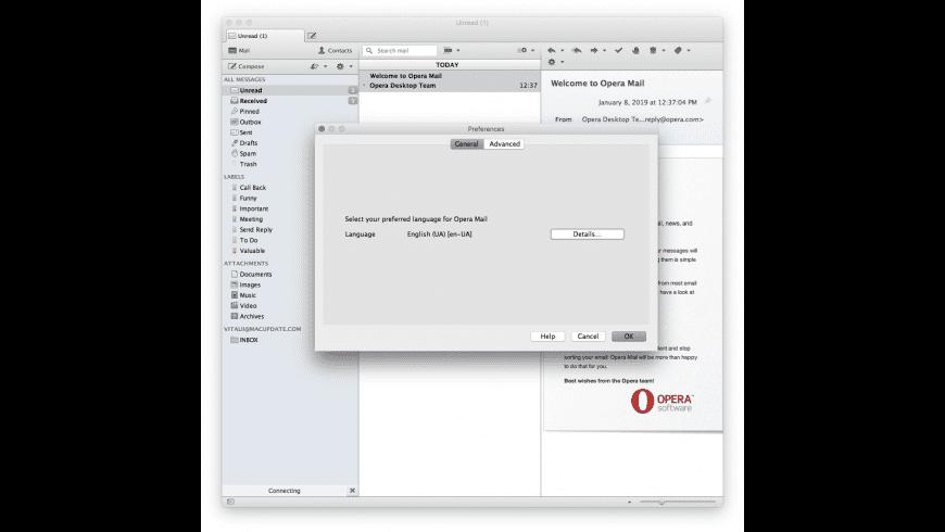 Opera Mail for Mac - review, screenshots