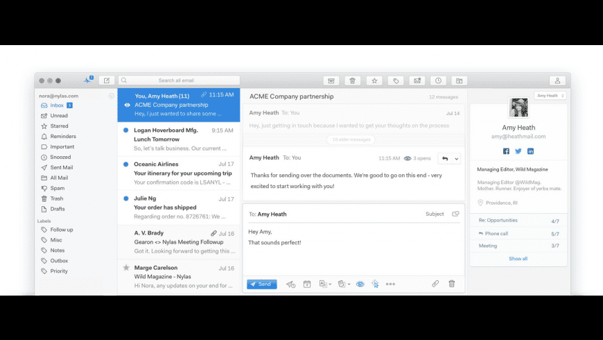 Mailspring for Mac - review, screenshots