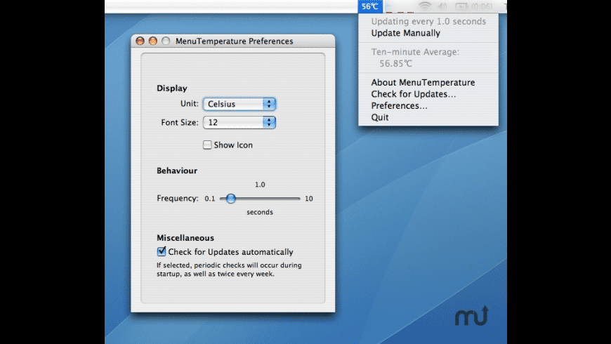 MenuTemperature for Mac - review, screenshots