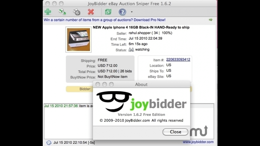 JoyBidder Free for Mac - review, screenshots