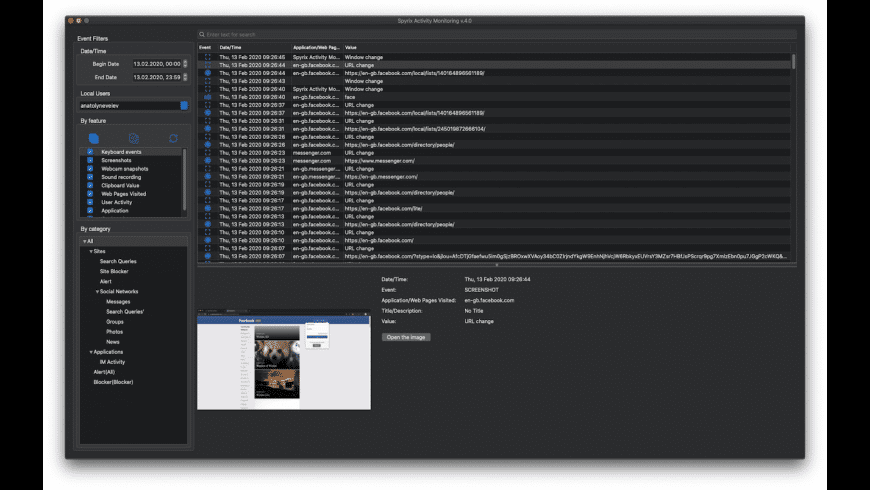 Spyrix Activity Monitoring for Mac - review, screenshots