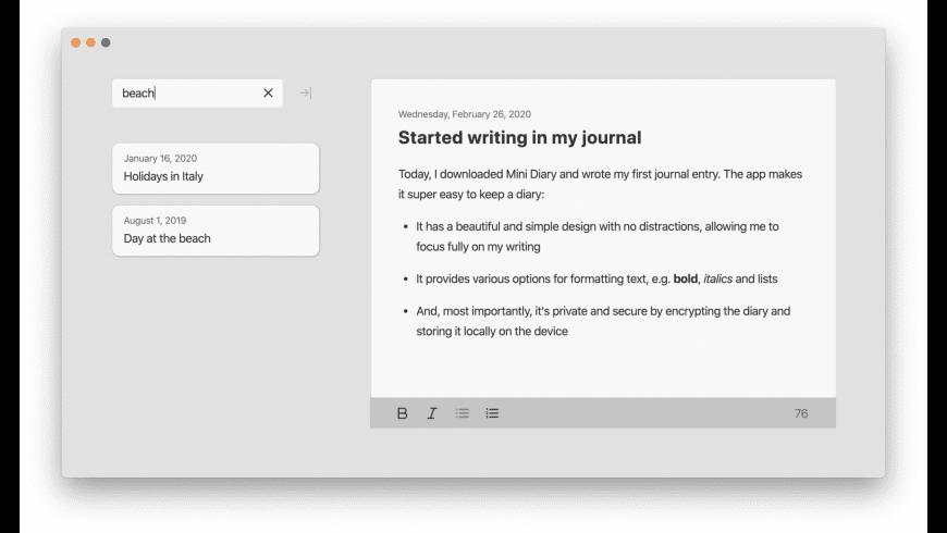 Mini Diary for Mac - review, screenshots