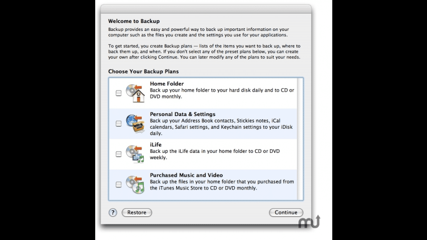 Apple MobileMe Backup for Mac - review, screenshots