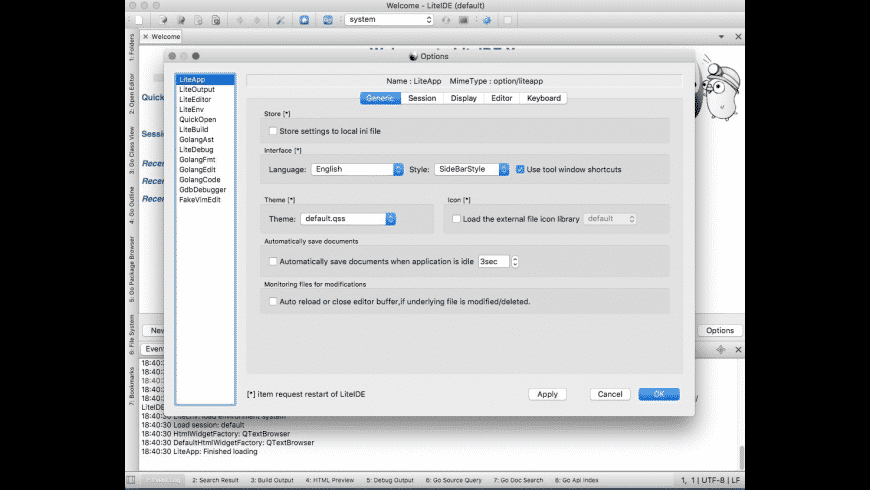 LiteIDE X for Mac - review, screenshots