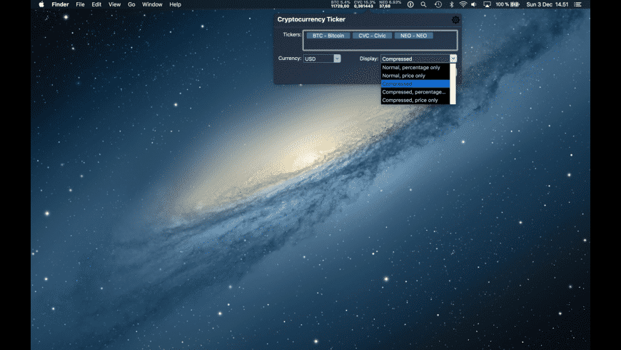 Cryptocurrency Ticker for Mac - review, screenshots