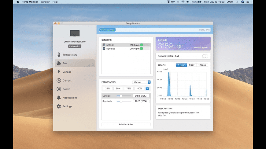 Temp Monitor for Mac - review, screenshots