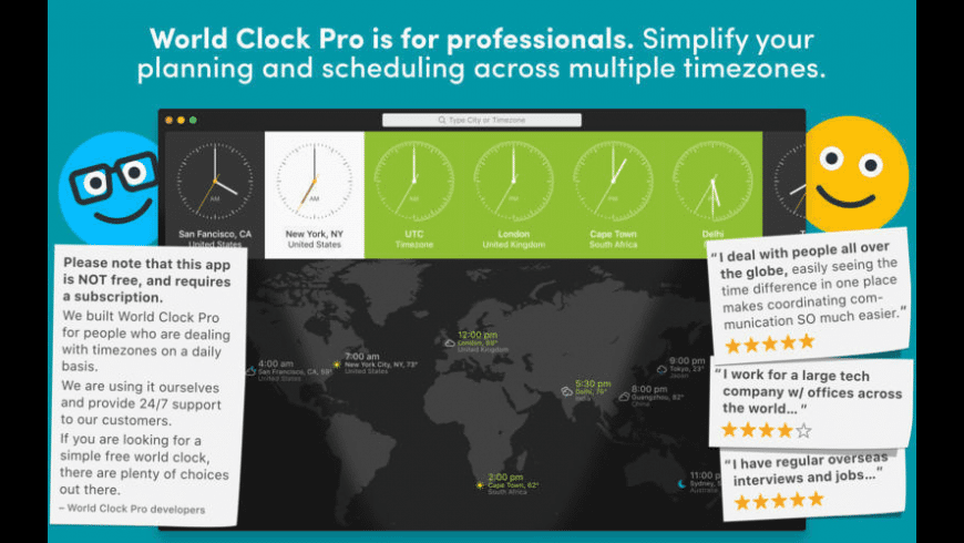 World Clock Pro for Mac - review, screenshots