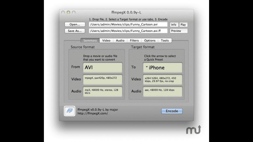 ffmpegX for Mac - review, screenshots