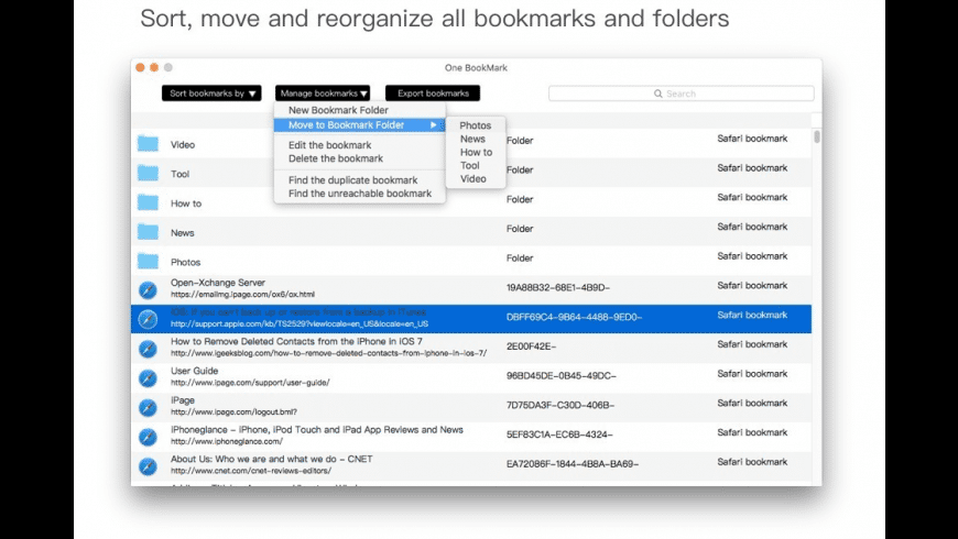 One Bookmark for Mac - review, screenshots