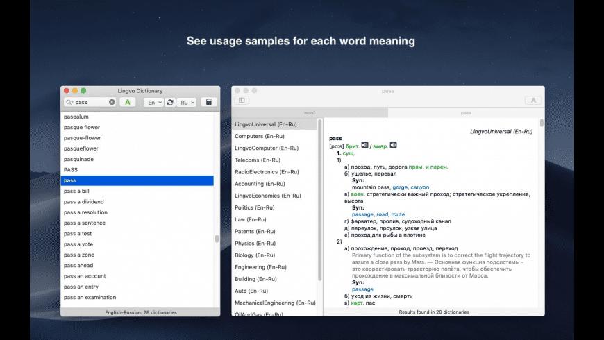 Lingvo European Dictionary for Mac - review, screenshots