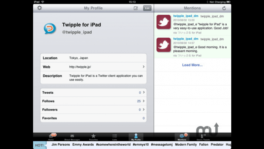 Twipple for iPad for Mac - review, screenshots