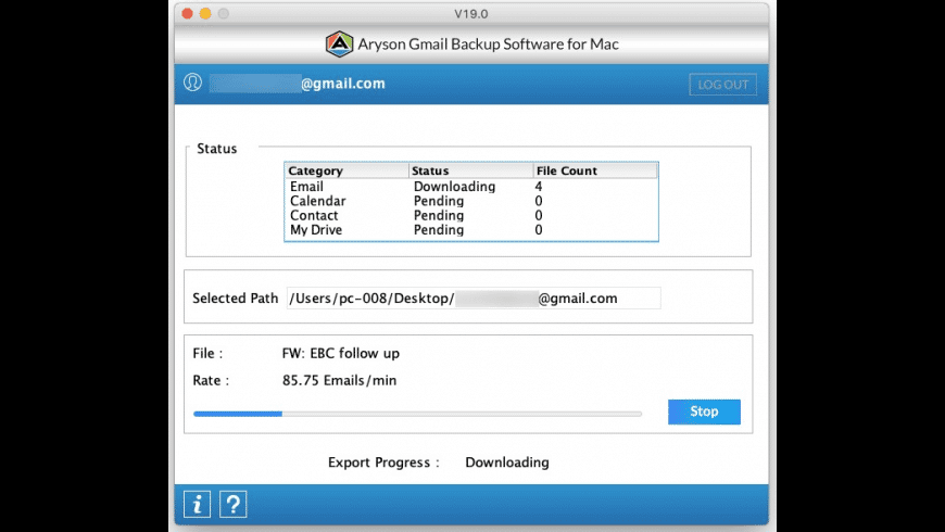 Aryson Gmail Backup Tool for Mac - review, screenshots