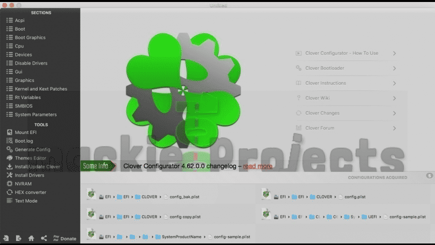 Clover Configurator for Mac - review, screenshots