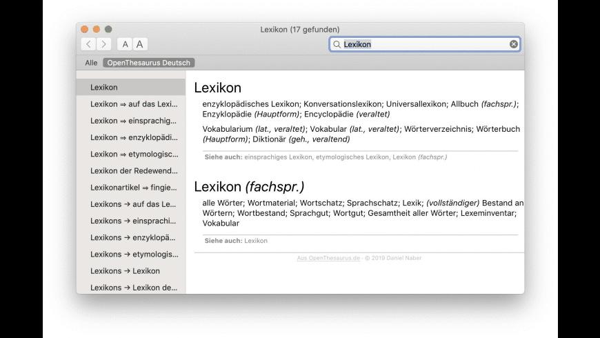OpenThesaurus Deutsch for Mac - review, screenshots