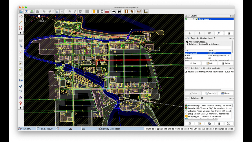 Java OpenStreetMap Editor for Mac - review, screenshots