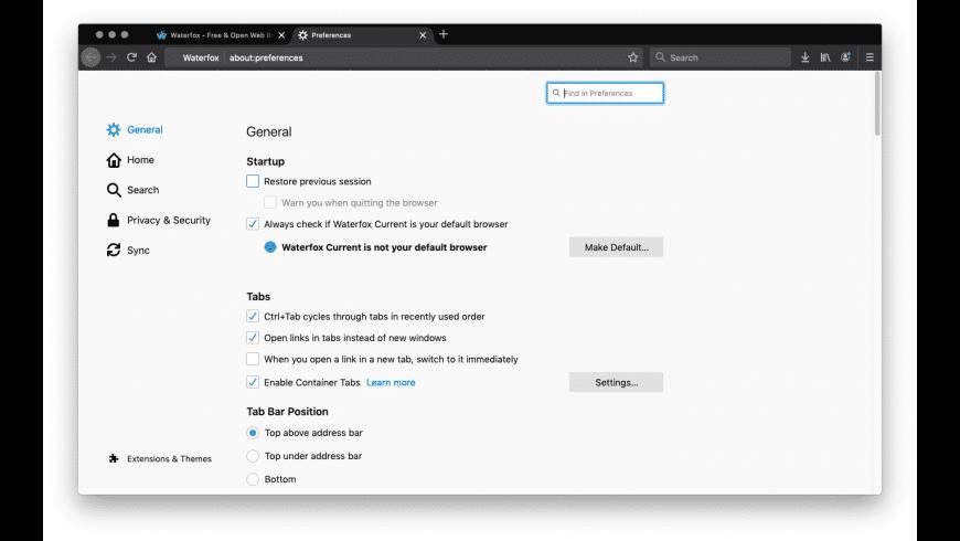 Waterfox for Mac - review, screenshots