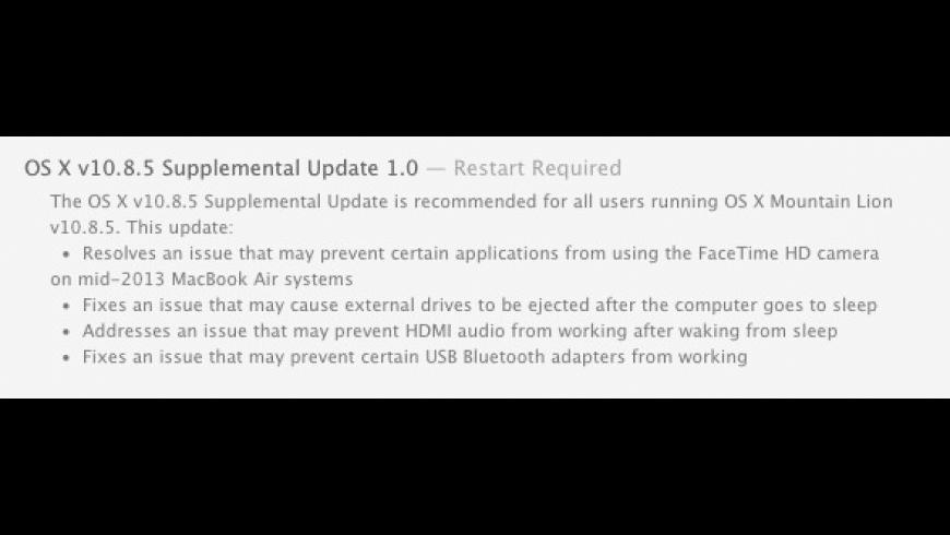 OS X 10.8.5 Supplemental Update for Mac - review, screenshots