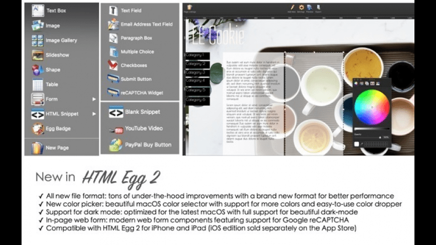 HTML Egg 2 for Mac - review, screenshots