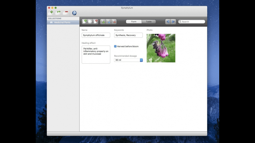 Symphytum for Mac - review, screenshots