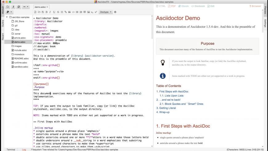 AsciiDocFX for Mac - review, screenshots
