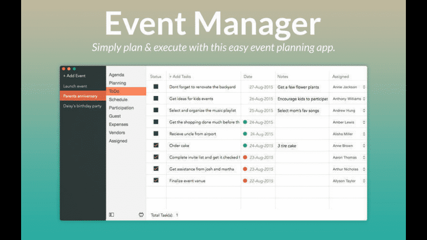 Event Manager for Mac - review, screenshots