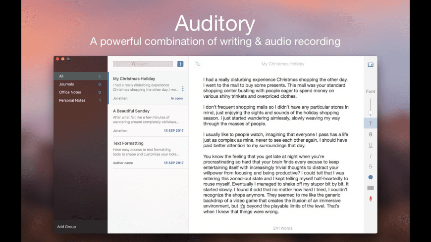 Auditory for Mac - review, screenshots