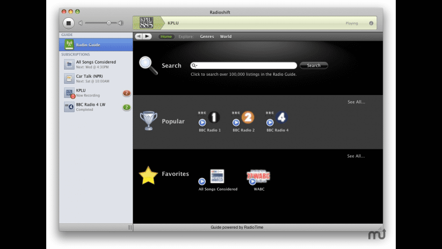 Radioshift for Mac - review, screenshots