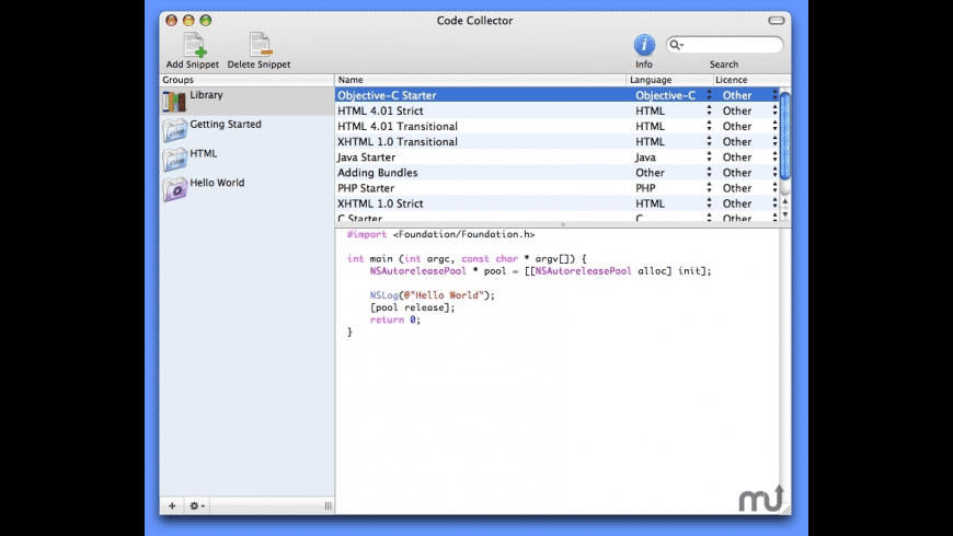 Code Collector for Mac - review, screenshots