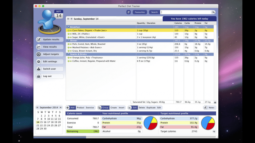 Perfect Diet Tracker for Mac - review, screenshots