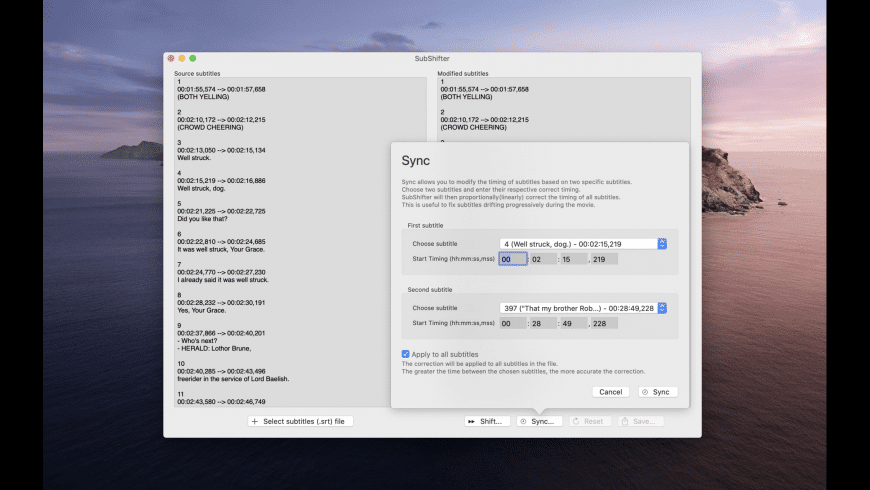 SubShifter for Mac - review, screenshots