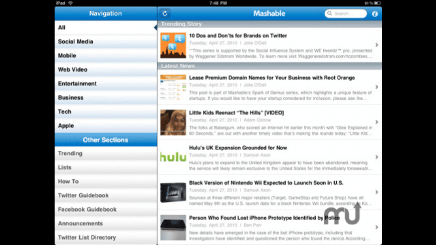 Mashable! for iPad for Mac - review, screenshots