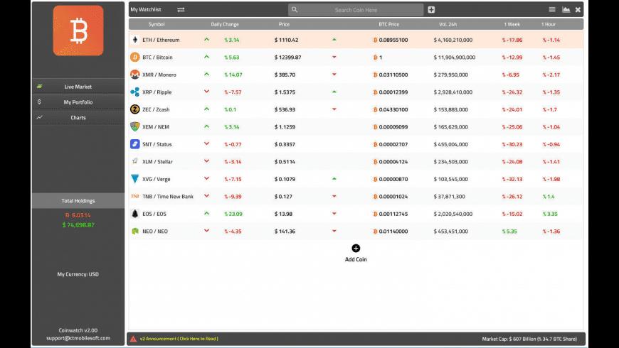 Coin Watch for Mac - review, screenshots