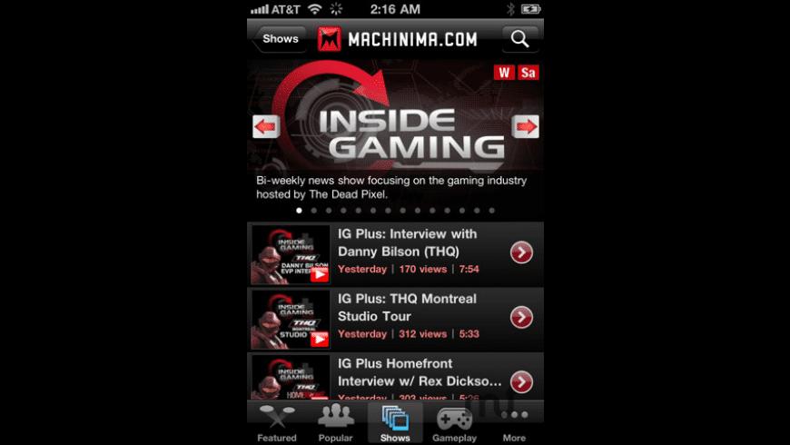 Machinima.com for Mac - review, screenshots