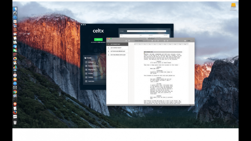 Celtx script for Mac - review, screenshots