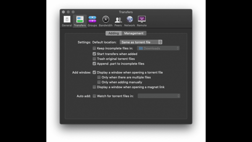 Transmission for Mac - review, screenshots